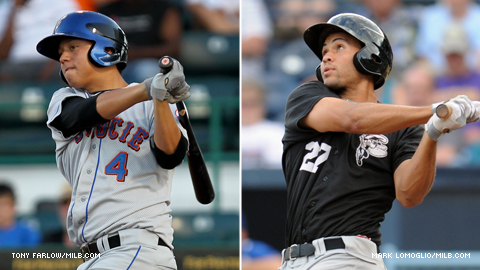 Wilmer Flores (left) and Cory Vaughn have combined for 21 extra-base hits, including 10 homers.