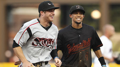 The Blaze's Billy Hamilton (right) joked with the Storm's Cory Spangenberg.